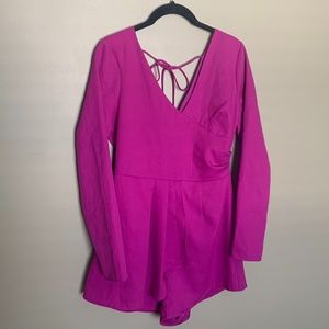 One One Six magenta tie back romper size small